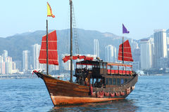 Hong Kong junk boat. Close up stock images