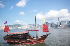 Hong Kong junk boat. At day royalty free stock photos