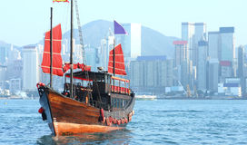 Hong Kong junk boat. At day stock images