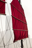 Hong Kong Junk Boat Canvas Sail and Rigging Royalty Free Stock Photography