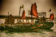 Hong Kong Junk Boats. Traditional Sailing Junk Boats in Hong Kong Royalty Free Stock Photos