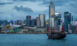 Hong Kong Junk Ship Imagenes de archivo