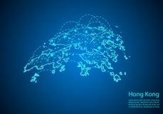 Hong Kong-kaart met knopen door lijnen worden verbonden die concept globale comm royalty-vrije illustratie