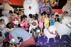 Hong Kong Kids christmas dancing event. December 14, 2013 - Kids christmas dancing event, located in Mega Box shopping mall, Kowloon Bay, Hong Kong. Kids from Royalty Free Stock Photos