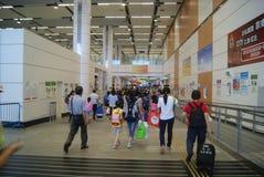 Hong Kong Kina: bussstation Arkivbilder