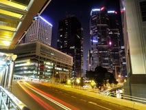 HONG KONG KINA - December 9 2016: Natttrafik i Hong Kong City arkivbild