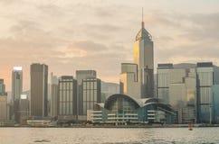 Hong Kong Kina från den Kowloon sidan across från Victor Harbor Fotografering för Bildbyråer