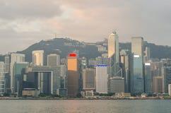 Hong Kong Kina från den Kowloon sidan across från Victor Harbor Arkivfoto