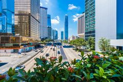 Hong Kong Kina - 15 September, 2018: Härligt arkitekturkontor arkivbild