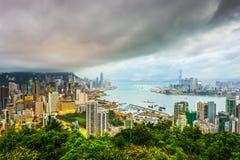 Hong Kong Kina stadshorisont Fotografering för Bildbyråer