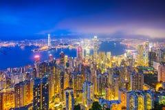 Hong Kong Kina stadshorisont Royaltyfri Fotografi