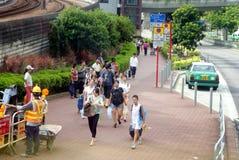 Hong Kong Kina: Tuen Mun bussstation Fotografering för Bildbyråer