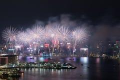 Hong Kong Kolorowy fajerwerk przy Wiktoria schronieniem zdjęcie stock