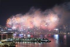 Hong Kong Kolorowy fajerwerk przy Wiktoria schronieniem fotografia stock