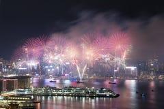 Hong Kong Kolorowy fajerwerk przy Wiktoria schronieniem obraz royalty free