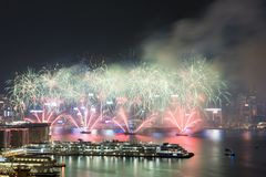 Hong Kong Kolorowy fajerwerk przy Wiktoria schronieniem obrazy stock