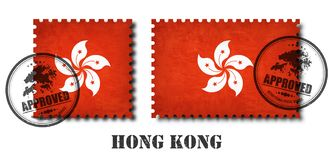 Hong kong or hong kongese flag pattern postage stamp with grunge old scratch texture and affix a seal on isolated background . Bla stock illustration