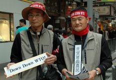 Hong Kong: Korean WTO Protestors Stock Photo