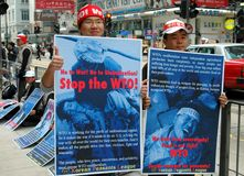 Hong Kong: Koreans Protesting WTO Meeting Stock Photos