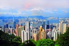Hong kong and Kowloon. View of hong kong kowloon islands from the victorial peak Royalty Free Stock Images
