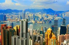 Hong kong and Kowloon. Morning view of hong kong and kowloon islands from the victorial peak Royalty Free Stock Photos