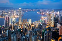 Hong Kong in Kowloon area skyline view from Victoria Peak in Hon. G Kong Royalty Free Stock Photos