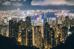 Hong Kong in Kowloon area skyline view from Victoria Peak in Hon. G Kong Stock Images