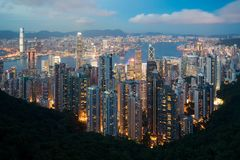Hong Kong in Kowloon area skyline view from Victoria Peak in Hon Royalty Free Stock Photo