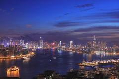 Hong Kong and Kowloon from black hill Stock Photography