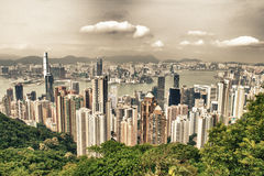 Hong Kong and Kowloon buildings. Aerial view of skyscrapers on a Stock Image