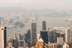 Hong Kong and Kowloon buildings. Aerial view of skyscrapers on a Royalty Free Stock Images