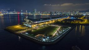 Hong Kong kai tak cruise terminal. Hong Kong Kowloon Choi Hung DJI phantom4 pro 2.0 Air Shot Lightroom kai tak cruise terminal Royalty Free Stock Images