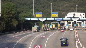 Hong Kong Kowloon East TKO Tunnel, Toll Station at Lam Tin in Hong Kong, on DEC 16, 2016. stock video footage