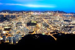 Hong Kong and Kowloon by night as seen from Lion Rock Royalty Free Stock Photos