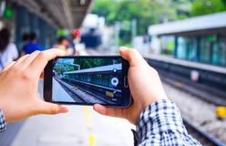 Hong Kong Kowloon Tong MTR Station in Mobile Screen stock image