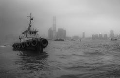 Hong Kong, Kowloon widok i łódź - obrazy stock