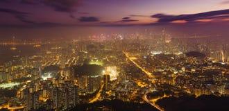 Hong Kong ksyline at night stock image