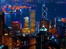 Hong Kong la nuit Images libres de droits