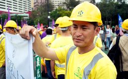 Hong Kong Labour Day Protests Royalty-vrije Stock Foto