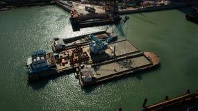 Hong Kong Lam Tin Tunnel construction Drone Shot. Sea sky Royalty Free Stock Photo
