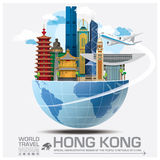 Hong Kong Landmark Global Travel et voyage Infographic Images libres de droits
