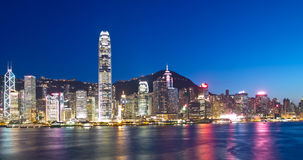 Hong Kong Landmarks at Night. Landmarks of Hong Kong and Victoria Harbour at night royalty free stock photography