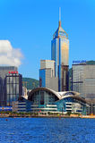 Hong kong landmarks sklines. Landmarks such as hong kong convention and exhibition centre, central plaza, great eagle centre and other famous skyscrapers as royalty free stock images