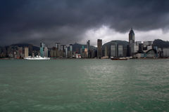 Hong-Kong landscapes. With lowering clouds and emerald water Stock Photo