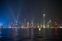 Hong Kong laser-show Royaltyfri Bild