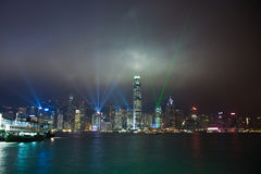 Hong Kong Laser Show seen from Kowloon Royalty Free Stock Photography