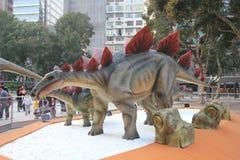 Hong Kong Legends del exhibitio gigante de los dinosaurios fotografía de archivo