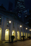 Hong Kong Legislative Council Building. Night view of the Hong Kong Legislative Council Building (Former Supreme Court Building until 1985) with the statue of stock images