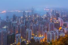 Hong Kong les scènes, port de Victoria de la vue maximale d'oiseau, Images libres de droits