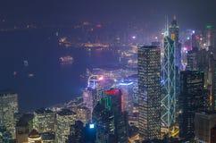 Hong Kong les scènes, port de Victoria de la vue maximale d'oiseau Photographie stock libre de droits